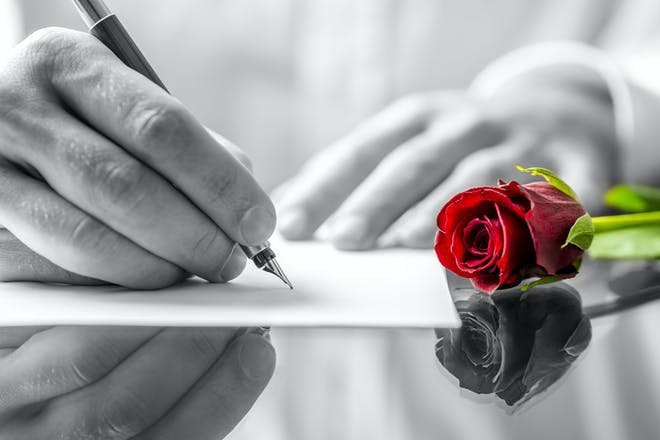 Man writing a love letter