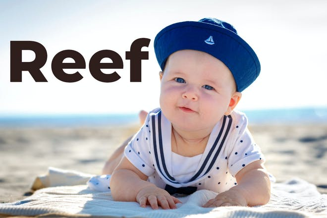 Baby on the beach with Reef written in text
