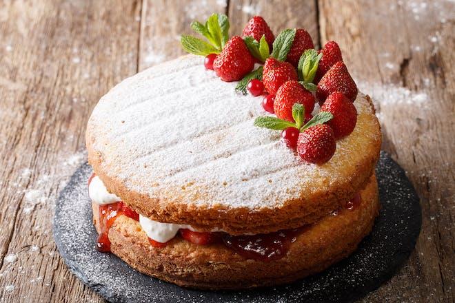 Victoria sponge cake with fruit on top