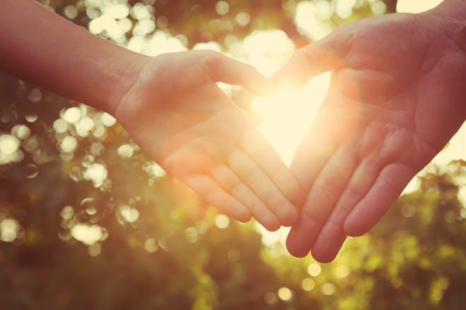 helping hand in sunlight