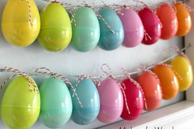 Easter eggs strung together