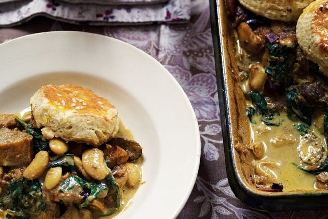 Squash cobbler with Indian spices, mushrooms and butterbeans by Anjum Anand