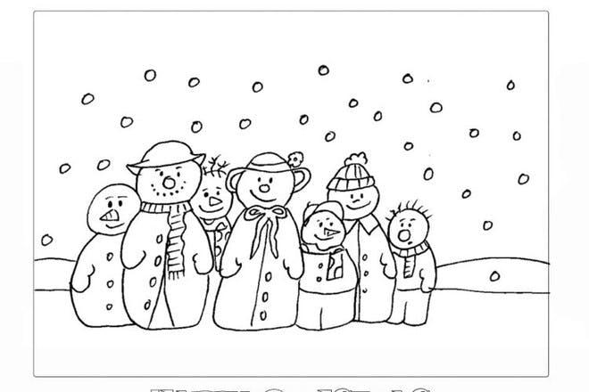 snowmen colouring