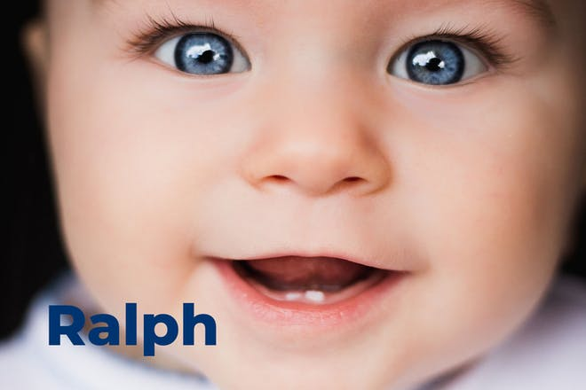 Close up of baby's face. Name Ralph written in text