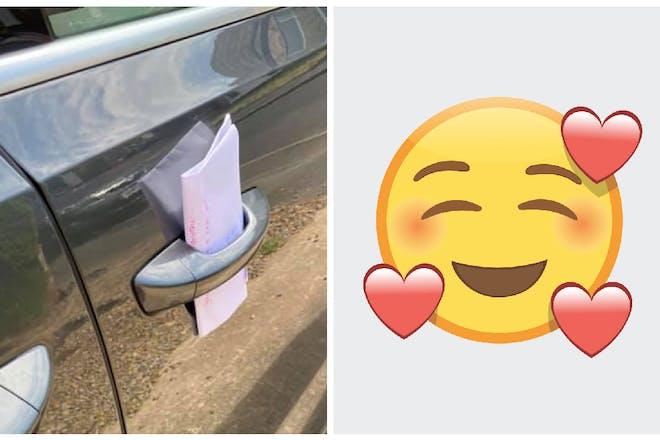 Left: Letter in car door. Right: Emoji