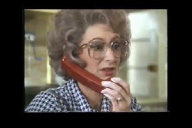 Maureen Lipman talks on the phone in 1980s BT advert