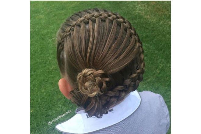 side bun braid
