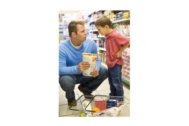 man and boy shopping