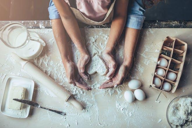 Mum and daughter baking