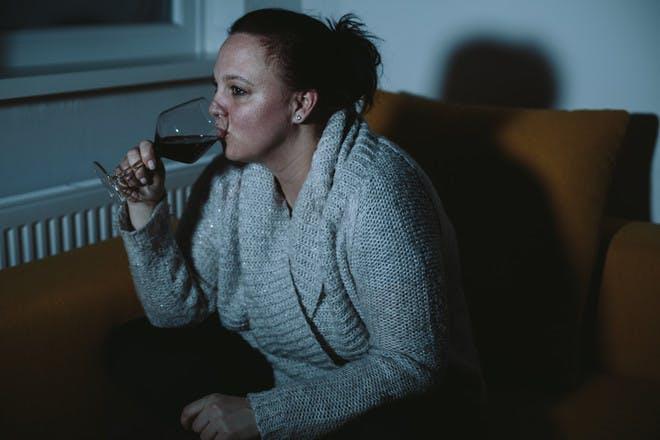 Mum drinking wine