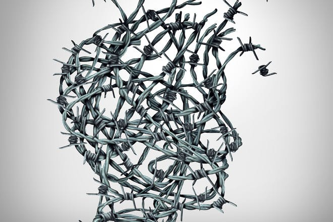 barbed wire head anxiety concept