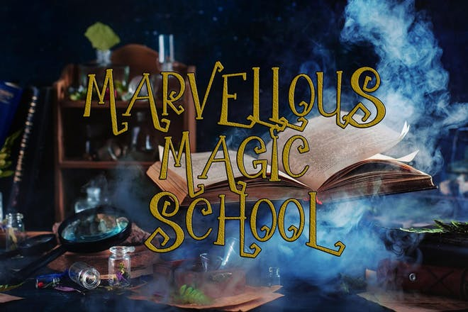 Wizard's desk with spell book and spells. Text says Marvellous Magic School