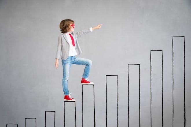 Child climbing educational ladder