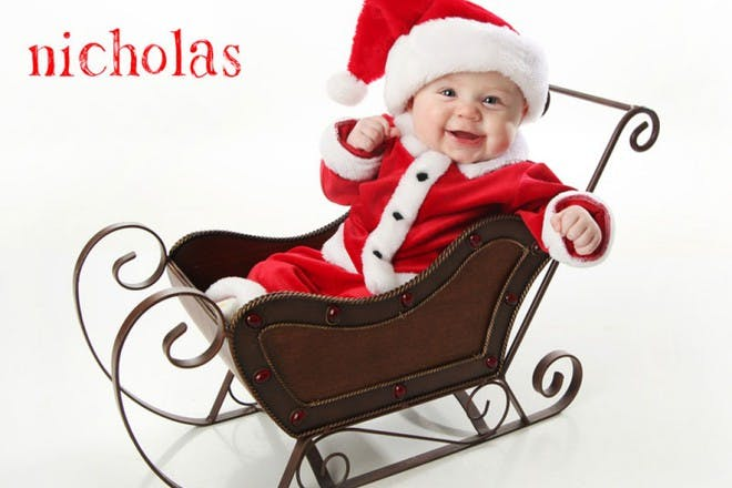 baby in sleigh
