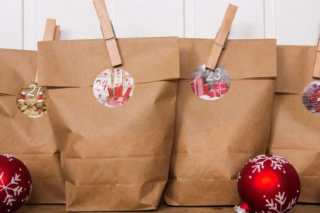 brown paper bag advent calendar