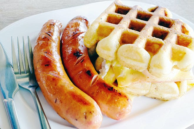 Waffles and sausages