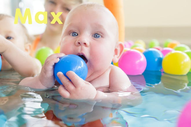 Baby in swimming pool holding plastic ball. Text says Max