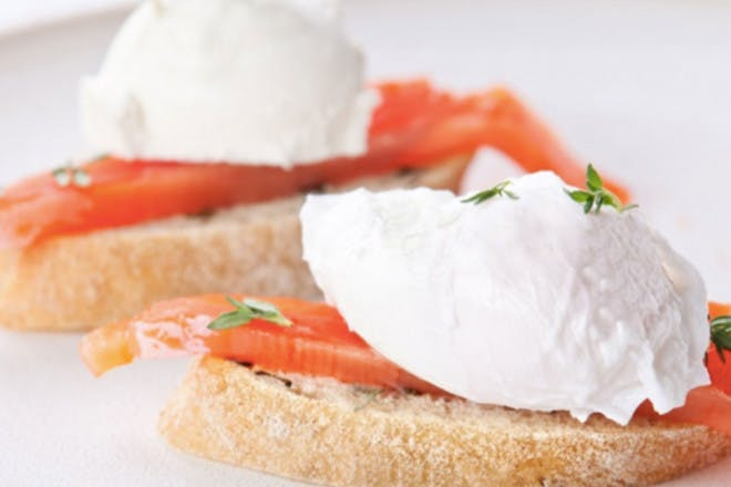 20. Poached eggs and salmon on toast