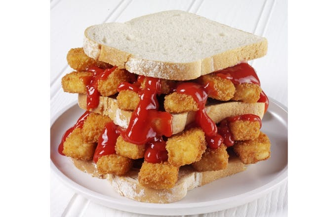Fish finger and tomato sauce sandwich