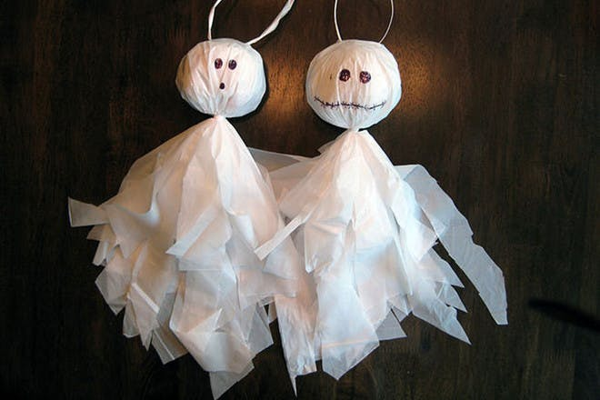 Hanging ghosts made from bags