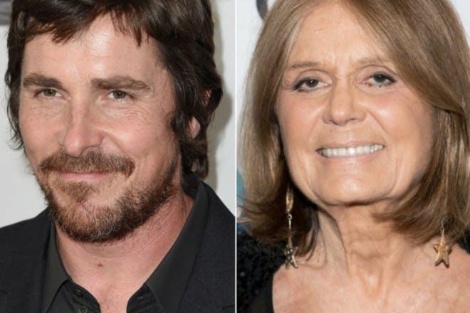 Christian Bale and Gloria Steinem