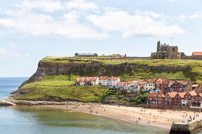 View of the beach and abbey at Whitby