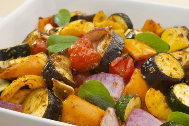 Roasted mediterranean veg in a tray
