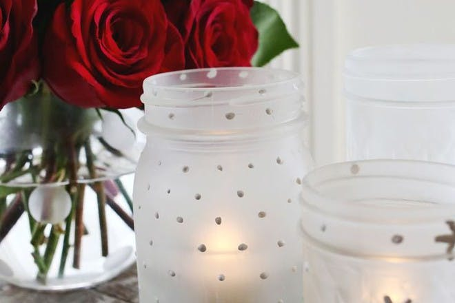 mason jars decorated with frosting spray