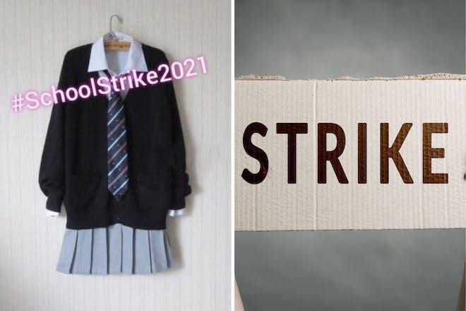 left: school uniformright: strike sign