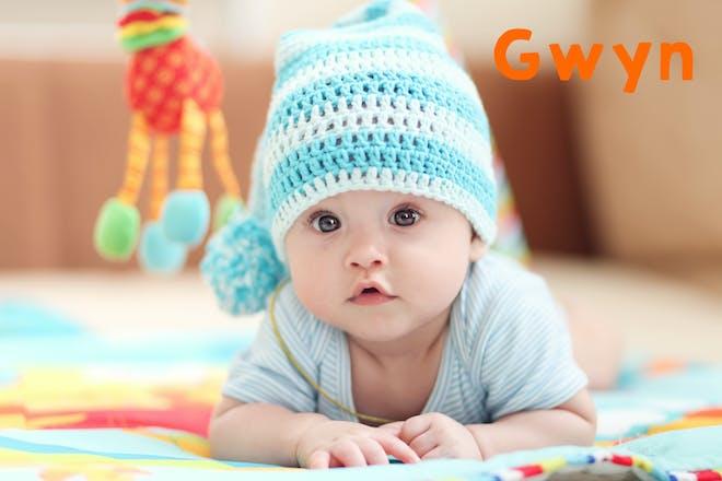 Baby boy in a blue hat