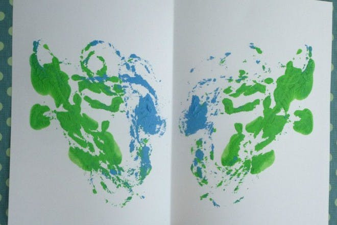 blue and green painting