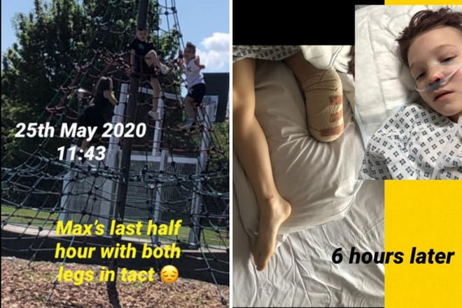 Left: park with text on the picture. Right: Boy in hospital bed