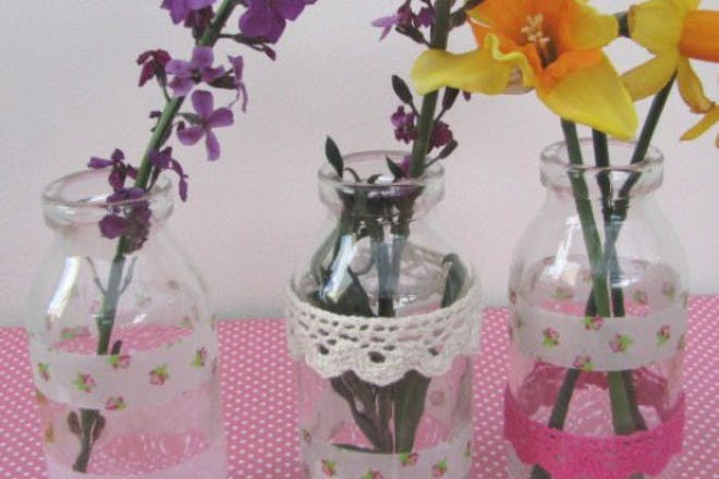 flowers in decorated pots