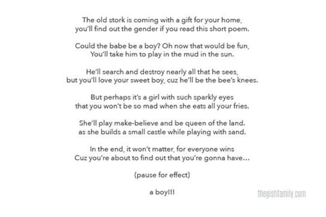 Gender reveal poem