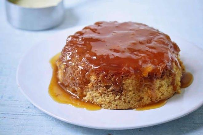 Vegan syrup sponge on a plate