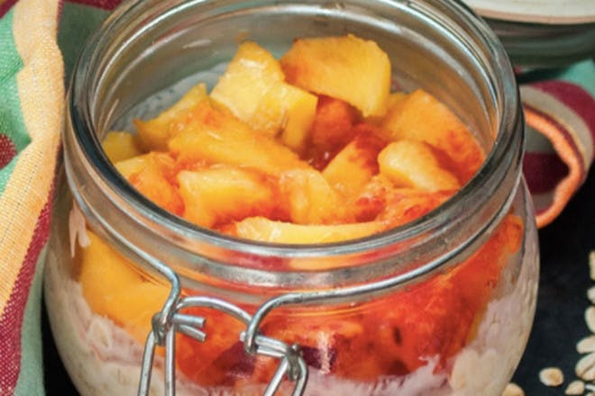 66. Overnight oats with yoghurt and peaches