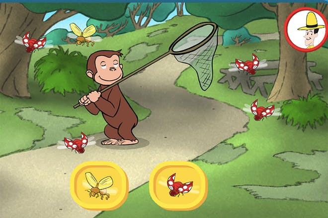 Monkey Curious George holds a net in a forest as red and yellow bugs fly around