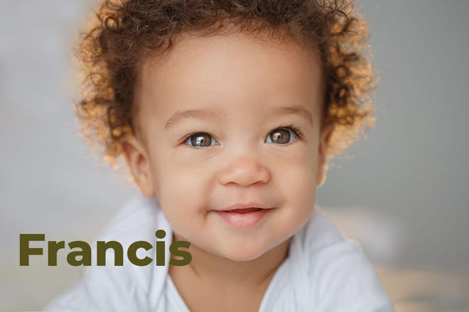 Baby with curly hair. Name Francis written in text