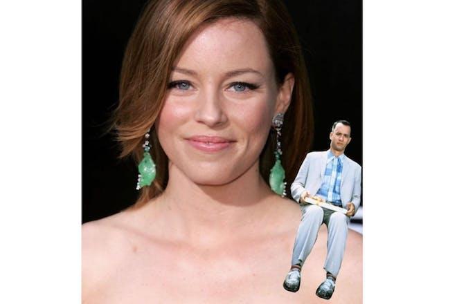 Elizabeth Banks with Tom Hanks photoshopped on her shoulder