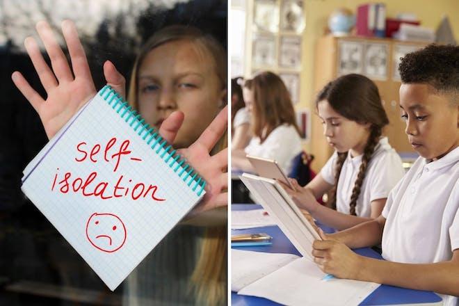 Left: Self isolation written on pad held by girlRight: School children