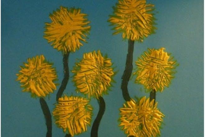 Fork printed dandelion picture