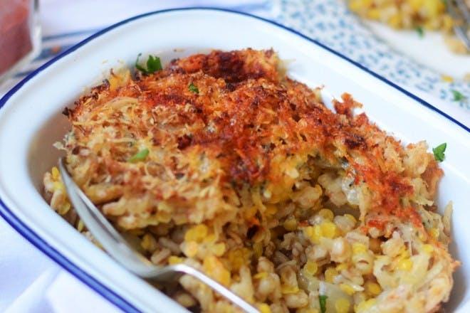 84. Baked lentil risotto