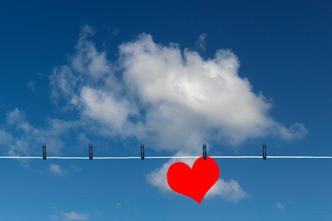 Heart on washing line