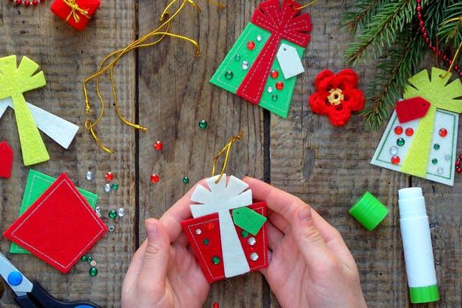 hands making felt presents