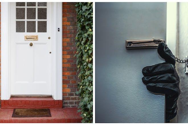 Front doorstep / Burglar breaking into property