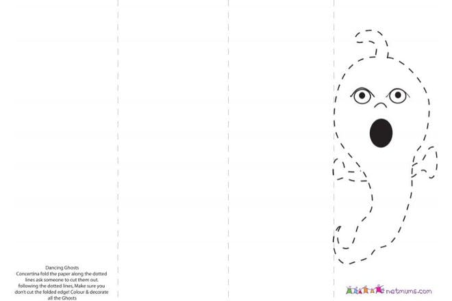 Halloween colouring page of dancing ghost banner