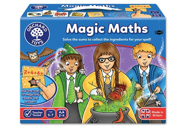 Magic maths board game box showing three young wizards making a potion