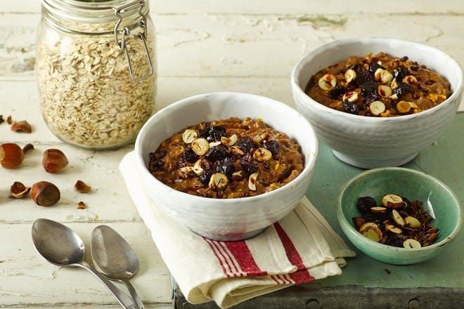 Chocolate orange porridge with hazelnuts recipe