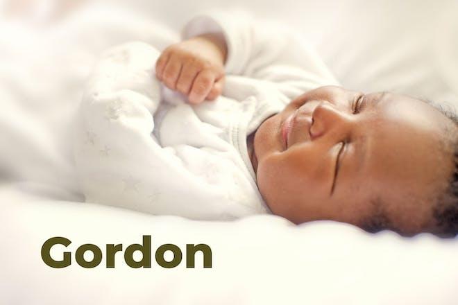 Sleeping baby. Name Gordon written in text
