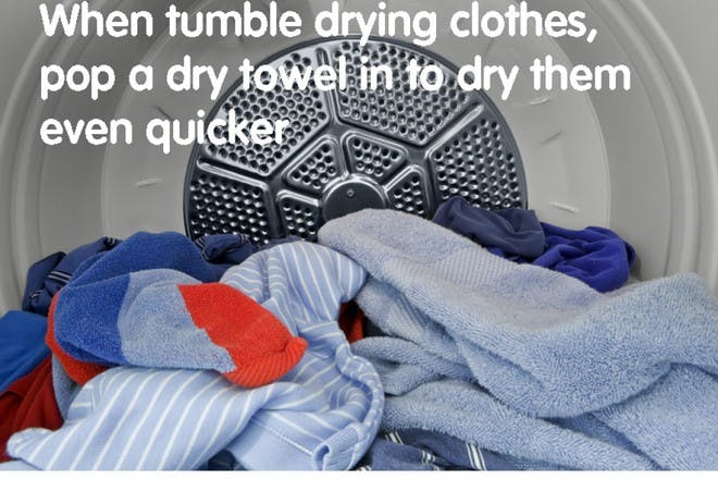clothes in tumble dryer